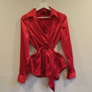 Women Size 8 Red Silk Look Holiday Top